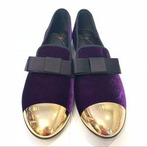 GIUSEPPE ZANOTTI Velvet Purple Loafers Sz 40.5